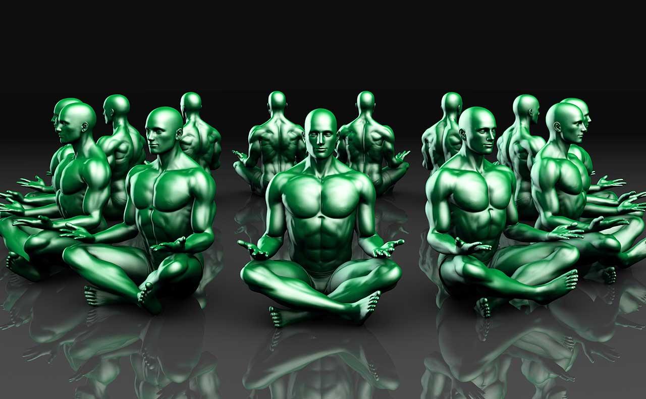 Male Figures Meditating